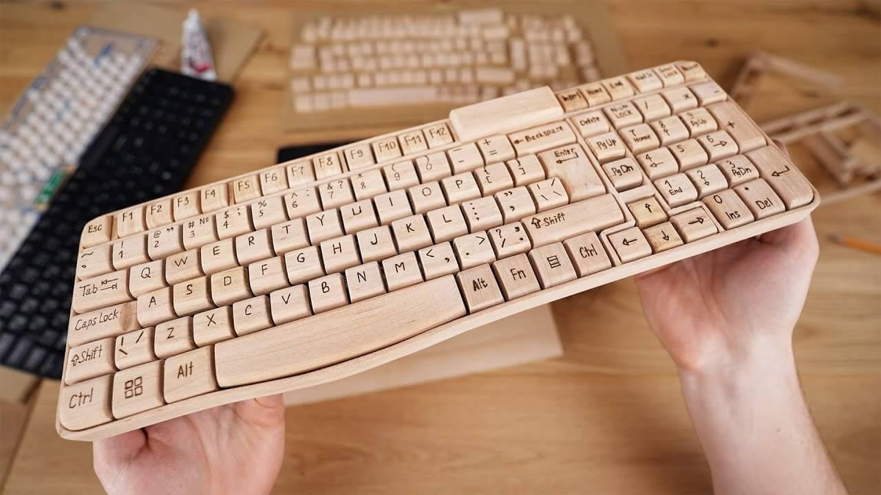 Chế tạo bàn phím đánh máy tính từ Gỗ cực đẹp mắt